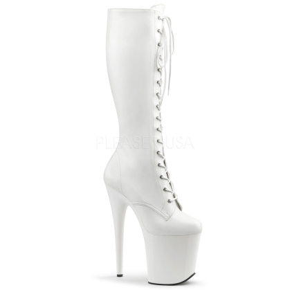 matte white lace up front knee-high boots with 8 inch heel