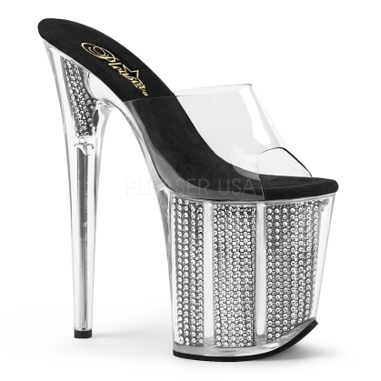 sexy strapless stripper shoes chrome plated and rhinestones clear black 8 inch heel