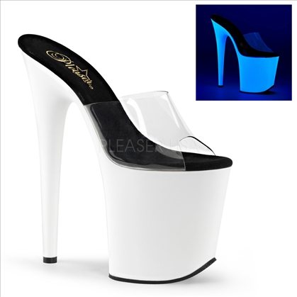 strapless stripper shoe UV reactive neon white 8 inch heel