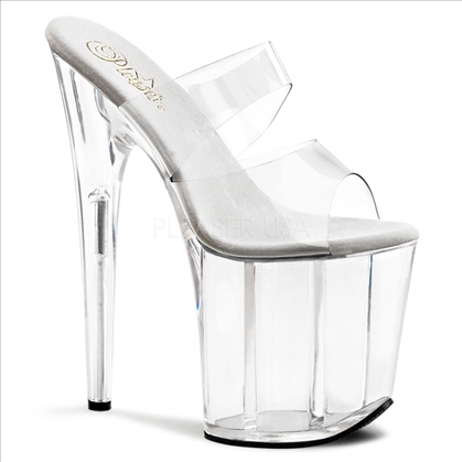 clear 8 inch heel 2 band 4 inch platform exotic stripper shoes