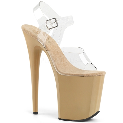 FLAMINGO-808 8 inch Heel Cream Clear Ankle Strap