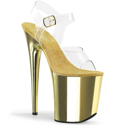 Gold Chrome 8 Inch Flamingo Heel Platform Shoes