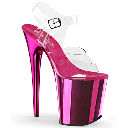 8 inch heel hot pink chrome clear top ankle strap stripper shoes