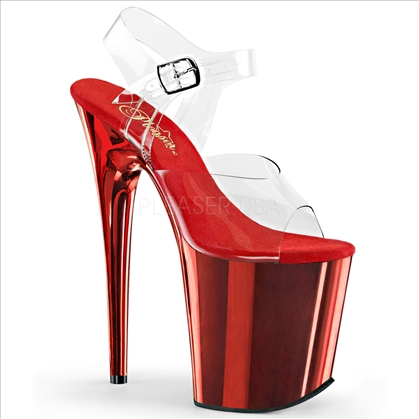 8 inch heel red chrome and clear top ankle strap stripper shoes