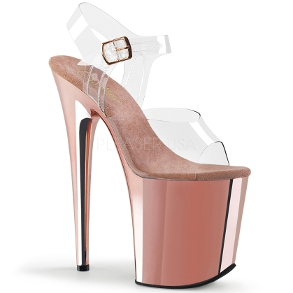 Rose Gold Chrome 8 Inch Flamingo Heel Platforms