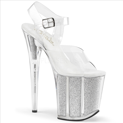 8 inch heel exotic stripper shoes silver glitter and clear ankle straps
