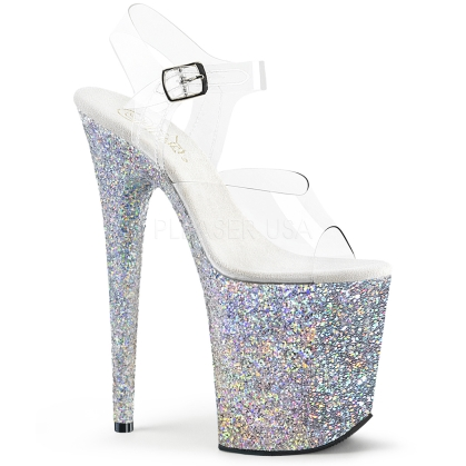 Silver Multi Glitter 8 Inch Flamingo Heel Shoes
