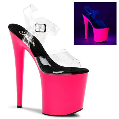 neon stripper shoes in UV reactive hot pink 8 inch heel