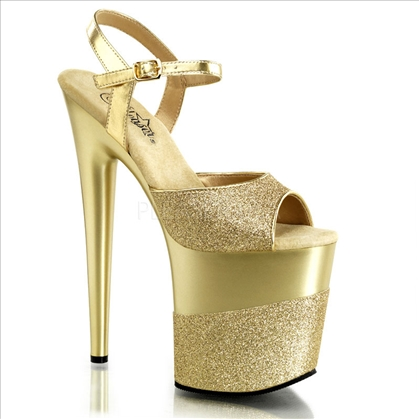 Two-tone gold on gold glitter 8 inch stiletto heels exotic dance shoes