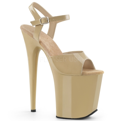 Cream Matte 8 Inch Flamingo Heel Exotic Shoes