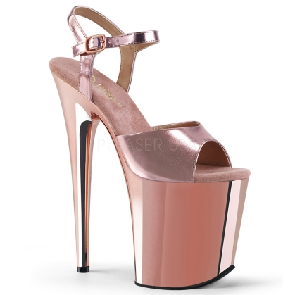 Rose Gold Matte 8 Inch Flamingo Heel Exotic Shoes