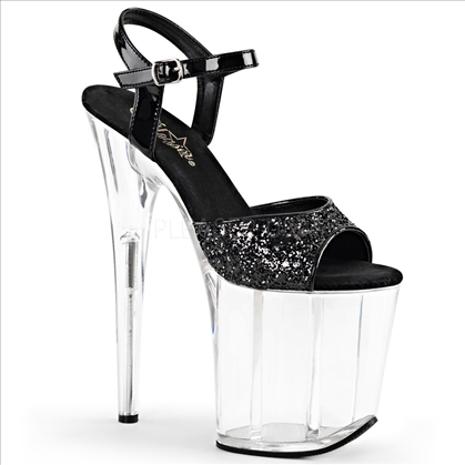 Black glitter patent 8 inch high heel shoes