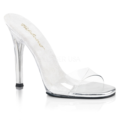 4  Inch Clear Heel No Ankle Straps Slide