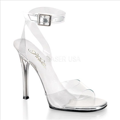 Clear On Clear Flat Front Twist Ankle Strap Shoe