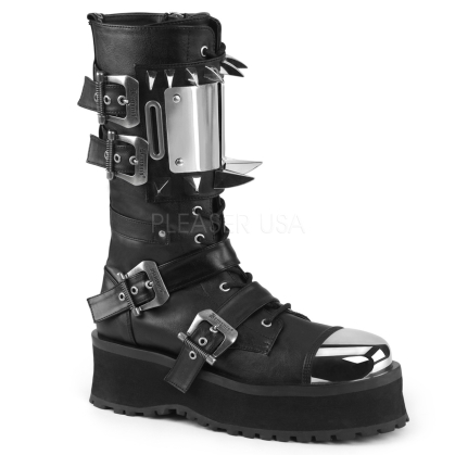 Domonia GRAVEDIGGER-250 Lace-Up Mid-Calf Goth Boot