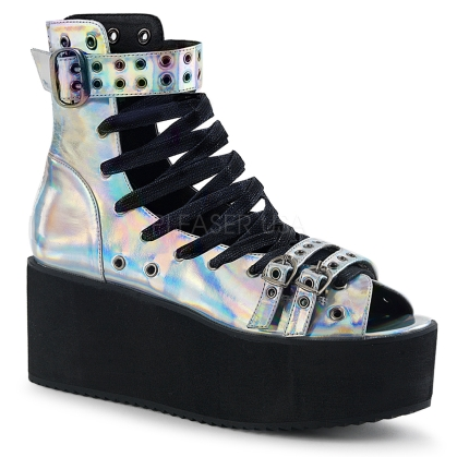 Silver Hologram Lace-Up Ankle High Sandal