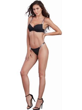 Microfiber underwire bra with molded push-up cups. Gunmetal color