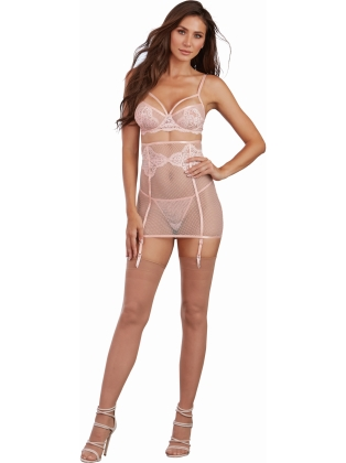 Underwire lace and fishnet bra a matching high-waisted garter skirt