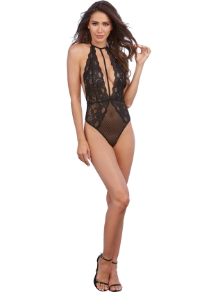 Stretch lace and patterned mesh teddy with plunge front