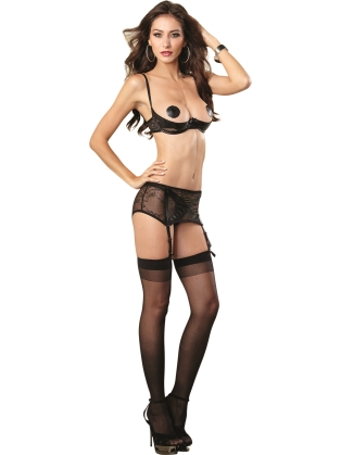 Stretch lace open cup underwire shelf bra with vinyl X design