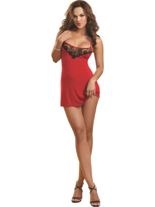 Sexy Soft Jersey Sleepwear Chemise with Delicate Lace Insets