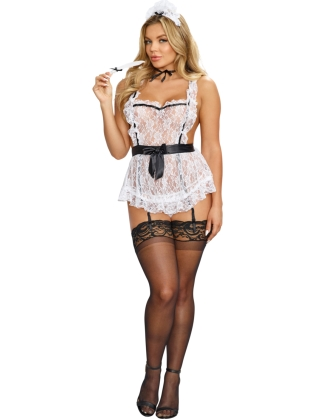 Lace apron with ruffle details attached elastic garters