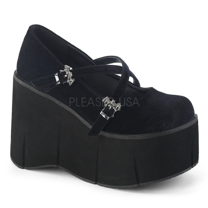 Black Velvet Criss-Cross Platform Maryjane Shoe