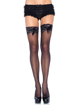 Stockings Lace Top and Satin Bow