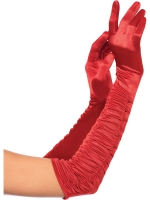 Accessories Opera Length Ruched Satin Gloves