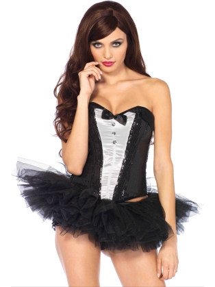 Costume Accessories Sequin Tuxedo Corset