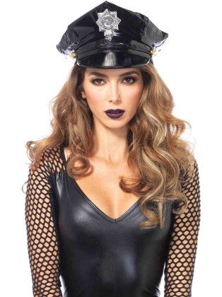 Costume Accessories Vinyl Police Hat