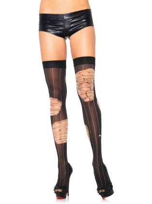 Stockings Distressed striped thigh highs