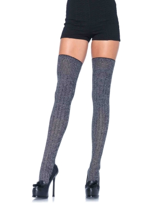 Stockings Heather Rib Knit Thigh Highs