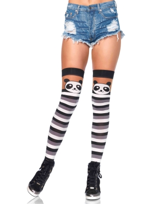 Stockings Party Panda Striped Thigh Highs