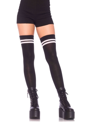 Stockings Ribbed athletic thigh highs