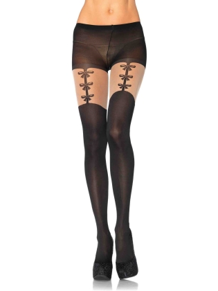 Stockings Faux Woven Garterbelt Pantyhose