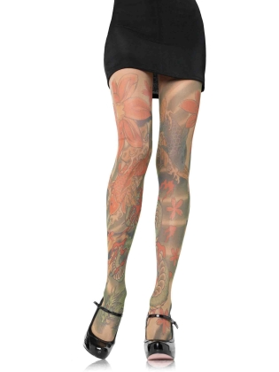 Stockings Opaque tattoo print pantyhose