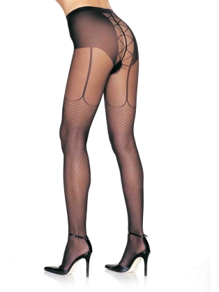 Stockings Lycra Fishnet Garter Look Lace Up