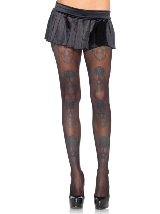 Stockings Shimmer skull print pantyhose