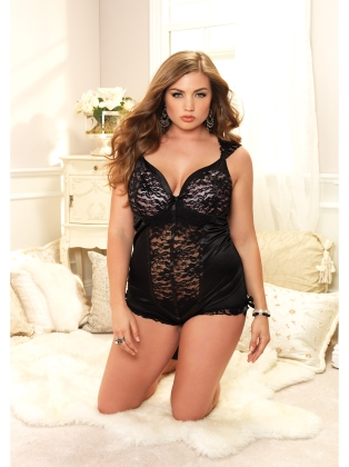 Lingerie Padded satin cup Lace teddy