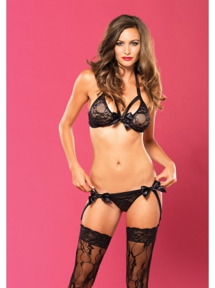 Lingerie Lace bra top and Garter G string