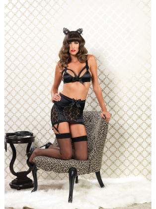 Lingerie Cage straped bra & High waisted skirt