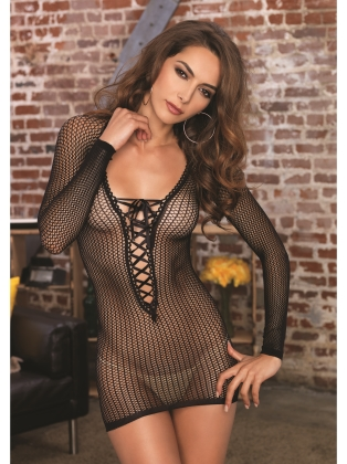 Lingerie Long sleeve Lace up Mini Dress