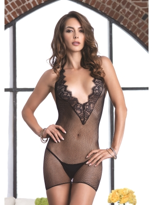 Lingerie Fishnet Halter Mini Dress