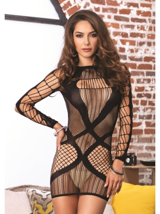 Lingerie Multi net long sleeved mini dress
