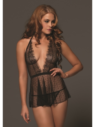 Lingerie Babydoll with Eyelash Lace Trim