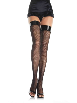Stockings Fishnet Stockings with Vinyl Top