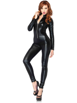 Costumes Wet Look Zipper Front cat suit