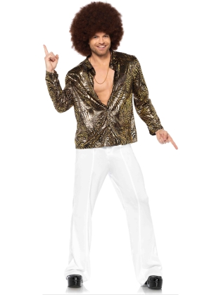 Costumes Retro Foil Zebra Disco Shirt