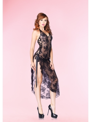 Sexy Wear Elegant Halter Lace Long Gown
